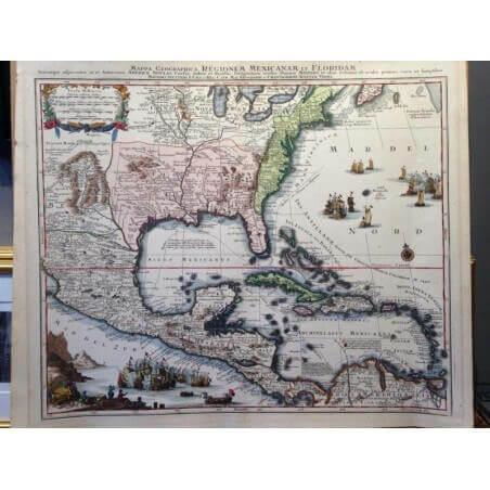 Mappa geographica regionem Mexicanam et Floridam