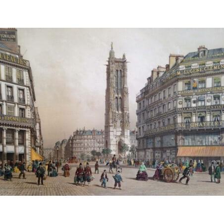 Paris dans sa splendeur,Tour Saint Jacques de la boucherie et la rue de Rivoli.