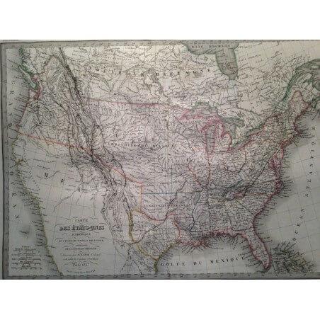 Carte des Etats Unis d' Amerique, LAPIE 1837