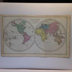 Mappemonde en deux hemispheres LAPIE 1820