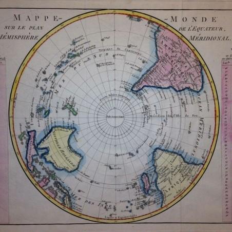 Mappemonde sur le plan de l'Equateur, hemisphère meridional