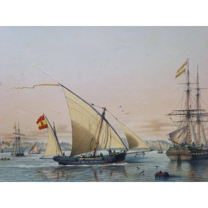 Faloucha, Balancelle de guerre, à l' embouchure de Guadalquivir