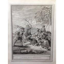 OUDRY, fables de la FONTAINE 1755,Les deux mulets, fable IV 2ème planche