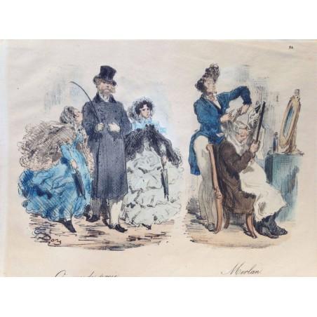 Gustave DORE, la menagerie Parisienne 1861,Oiseau de proie, merlan