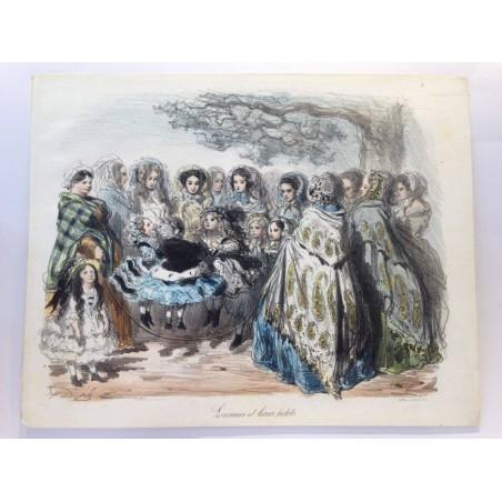 Gustave DORE, la menagerie Parisienne 1861,Lionnes et leurs petits