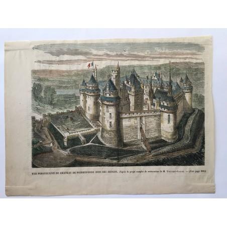 Vue en perspective du chateau de pierrefonds avec ses abords