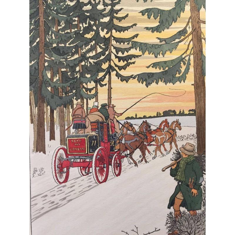 Harry ELIOTT, la calèche rouge dans la neige