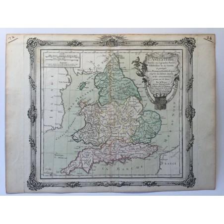 L' Angleterre, divisée en 5 grandes parties, Desnos 1766