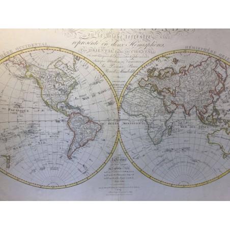 Mappemonde ou globe terrestre, représenté en deux hemisphères, HERISSON 1817
