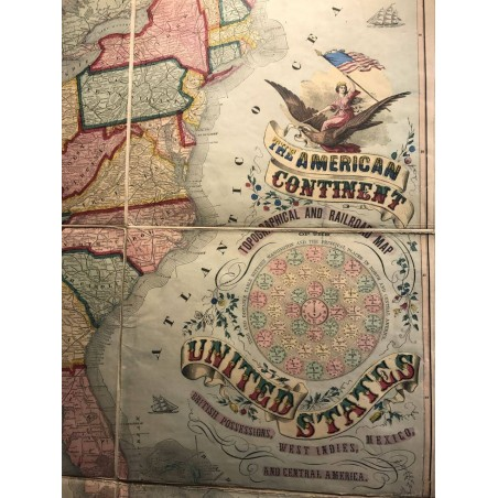 THE AMERICAN CONTINENT, topographical and railroad map of the United States, by Haasis &Lubrecht 1868
