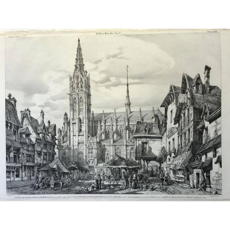 Vue pittoresque de la place du marché de Caudebec, les arts au moyen age, 1841