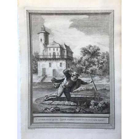 Oudry, Fables de la Fontaine, 1755, L' astrolgue qui se laisse tomber dans un puit