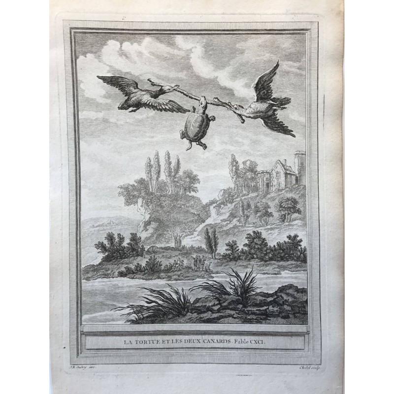 Oudry, Fables de la Fontaine, 1755, La tortue et les deux canards