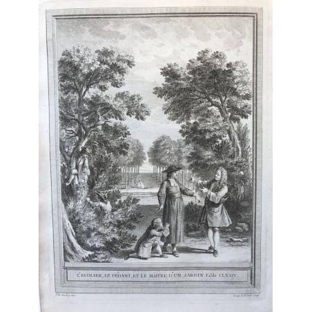 Oudry, Fables de la Fontaine, 1755, L'écolier, le pédant, et le maitre d'un jardin