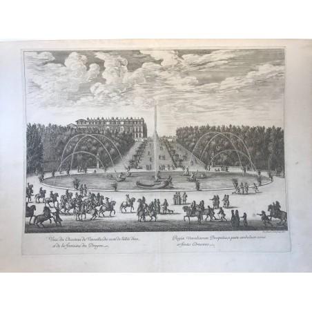 Vue du chateau de Versailles, du côté de l'allée d' eau, et de la fontaine du dragon, 1676