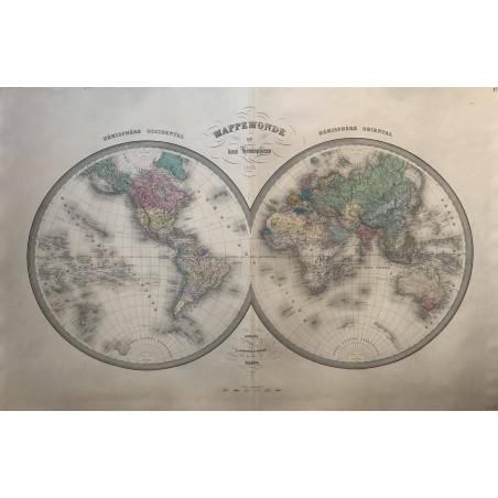 Mappemonde en deux hémisphères, 1864, Andriveau Goujon, rue du Bac Paris