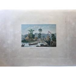 Voyage autour du monde, DUPERREY, 1826,Temple et maisons du village de Caïeli (ile bourou)