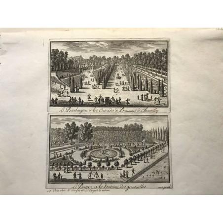 Gabriel Perelle 1604-1677,le boulingrin des cascades de Beauvais à Chantilly, le parterre de la fontaine des grenouilles