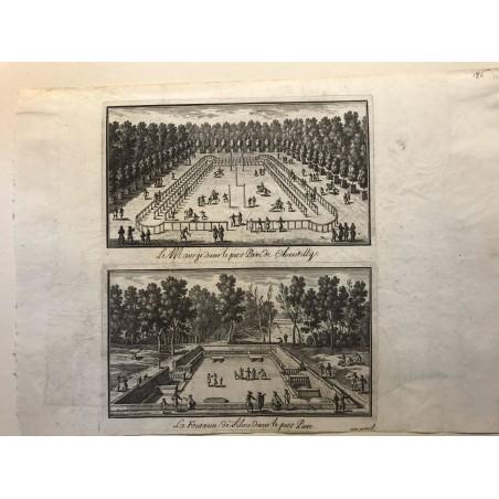 Gabriel Perelle 1604-1677, Le manège dans le petit parc de Chantilly, la fontaine de Sylvie dans le petit parc