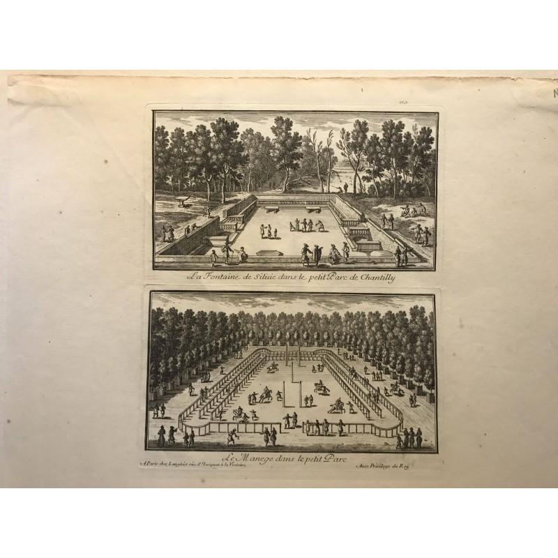 Gabriel Perelle 1604-1677, La fontaine de Sylvie dans le petit parc de Chantilly, le manège dans le petit parc