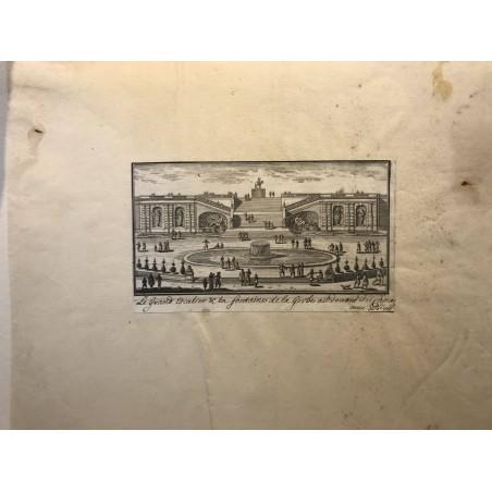 Gabriel Perelle 1604-1677, le grand escalier et la fontaine de la gerbe au devant du canal, Chateau de Chantilly