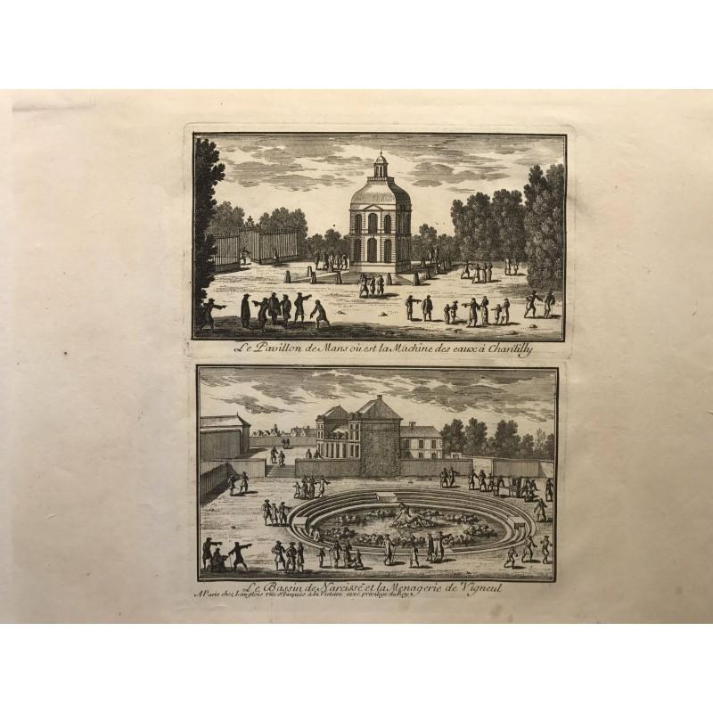 Gabriel Perelle 1604-1677, Le pavillon de Mans ou est la machine des eaux de Chantilly, le bassin de Narcisse...