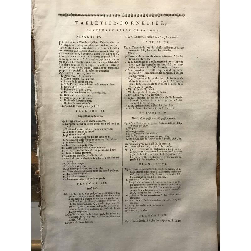 Diderot d'Alembert, Tabletier Cornetier, 1770