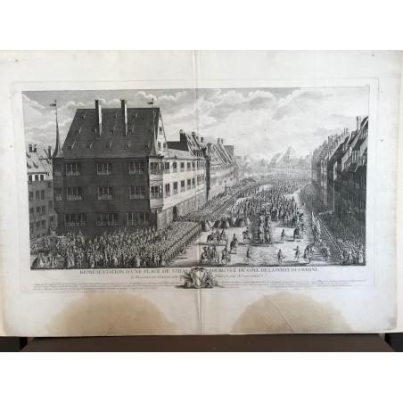 Représentation d' une place de Strasbourg vue du côté de Saverne