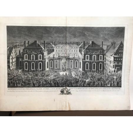 Représentation des principales, facade, entrée, cour, et de tout l'édifice du palais épiscopal