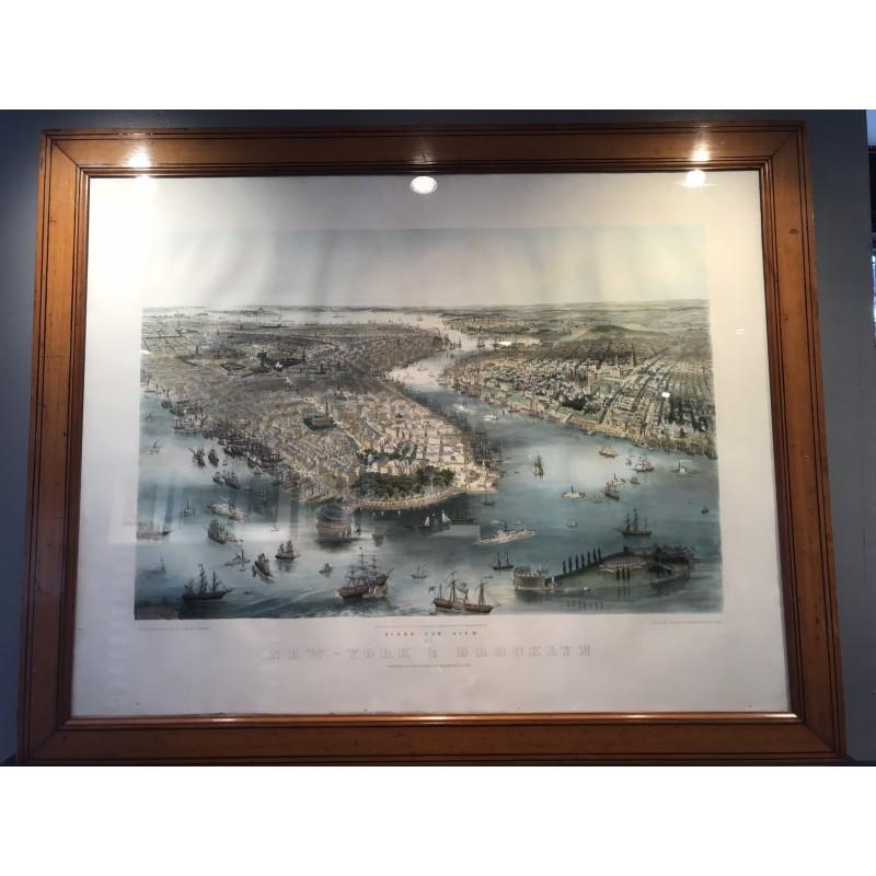 Bird eyes view of New York and Brooklyn, John BACHMAN 1850