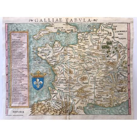 Gallia Tabula, Sebastien MUNSTER, 1560