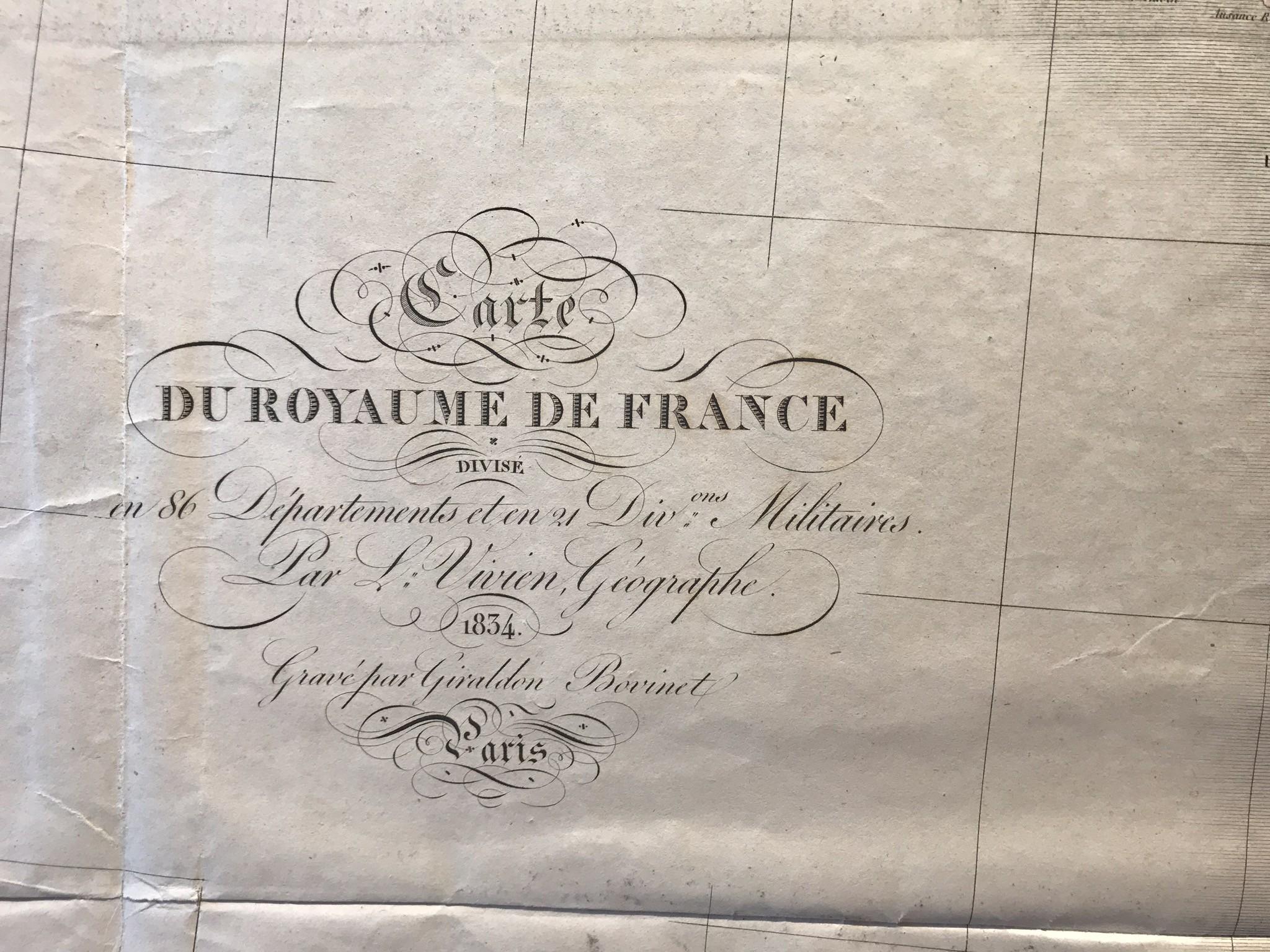 Carte du Royaume de France, Vivien,1834