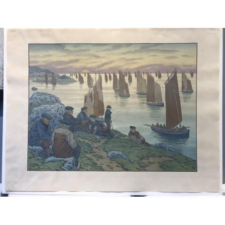 au vent de noroit, les vieux, 1906, lithographie originale