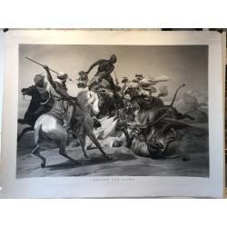 Chasse aux lions dans le désert, horace VERNET 1836