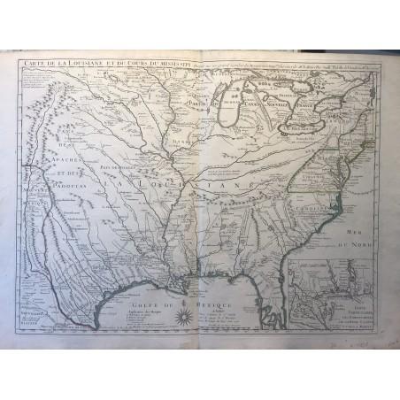 Carte de la Louisiane et du cours du Mississipi, G de L'ISLE, 1718