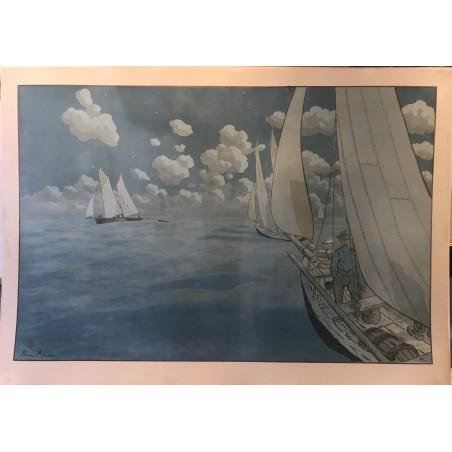 Henri RIVIERE, Nuit en mer, 1897, lithographie originale