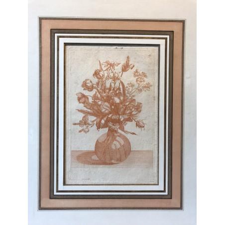 Bouquet de fleurs sur un entablement, signée P, XVIII ème Siécle.