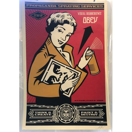Obey Giant, propaganda spray services, stay up, 2019
