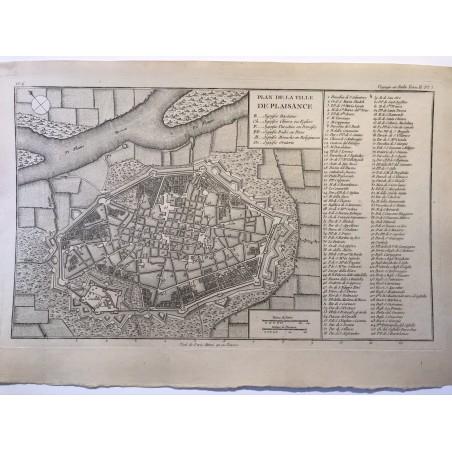 Plan de de la ville de Plaisance, De la Lande ,1790, voyage en Italie