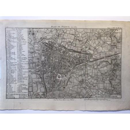 Plan de Padoue, De la Lande ,1790, voyage en Italie