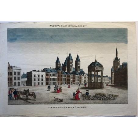 Vue de la grande place à Tournay