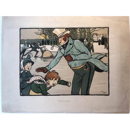 Les 12 sports, Skating, Cecil Aldin, 1901