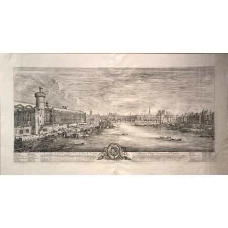 Perspective de la ville de paris vue du pont des tuileries, Sylvestre 1650