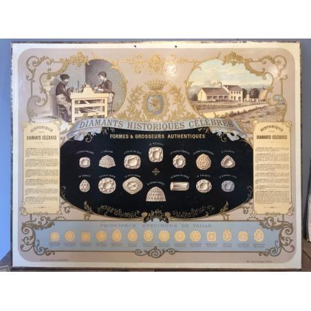 Diamants historiques célèbres, chromolithographie vers 1885