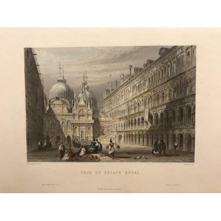 Venise, Galibert, 1854, Cour du Palais Ducal