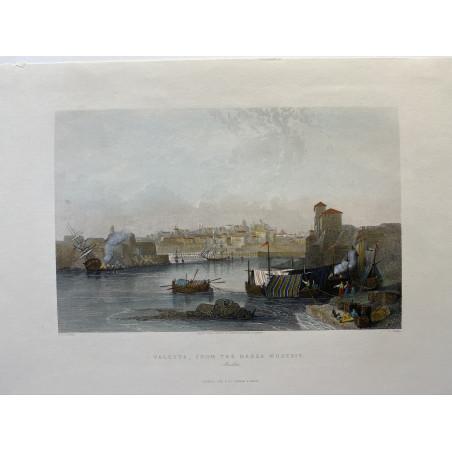 Valetta, from the Marsa Musceit, 1845-1850