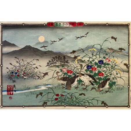 Utsushi RINSAI, kacho-ga, Oiseaux et fleurs variés, 1880
