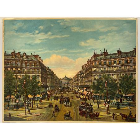 Avenue de l'Opéra, chromolitographie vers 1910