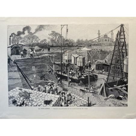 La tour Eiffel, travaux de fondation et de consolidation des piles,1889