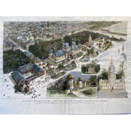 L' exposition coloniale Française a l'esplanade des Invalides, 1889
